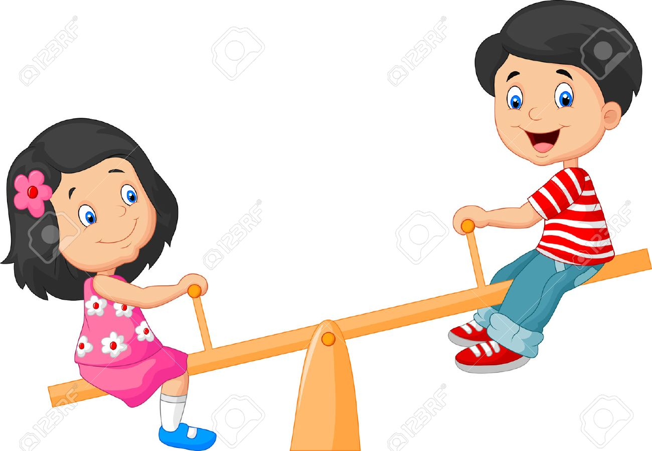 friends cartoon cartoon kids see saw stock photo