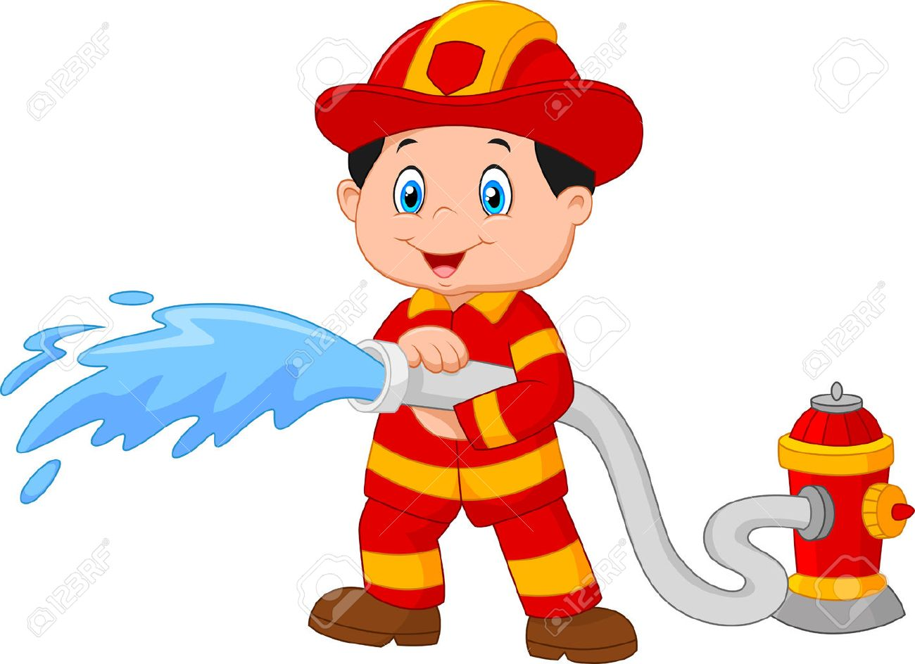 cartoon firefighter pours from a fire hose royalty free cliparts rh 123rf com funny firefighter cartoon pictures firefighter cartoon images free