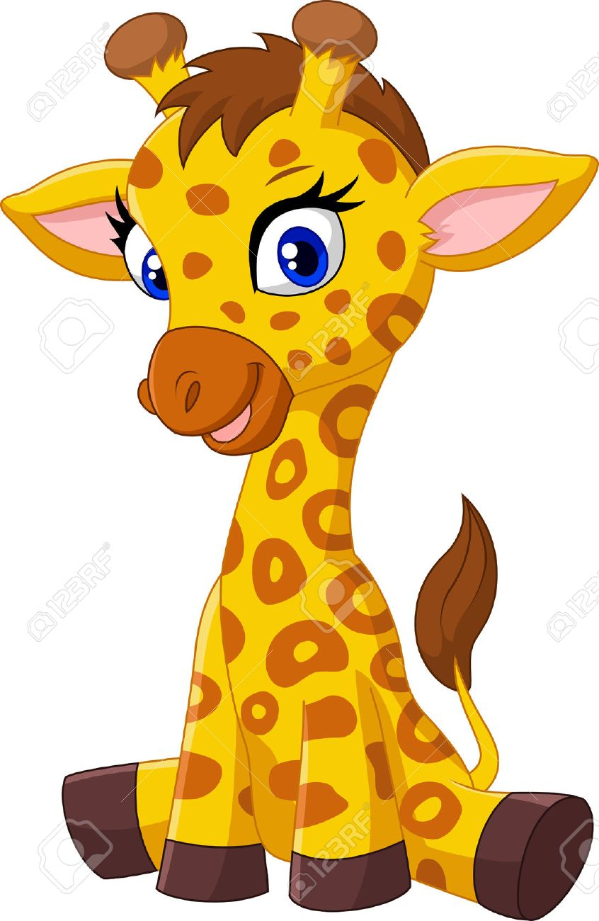 cartoon baby giraffe sitting stock photo picture and royalty free