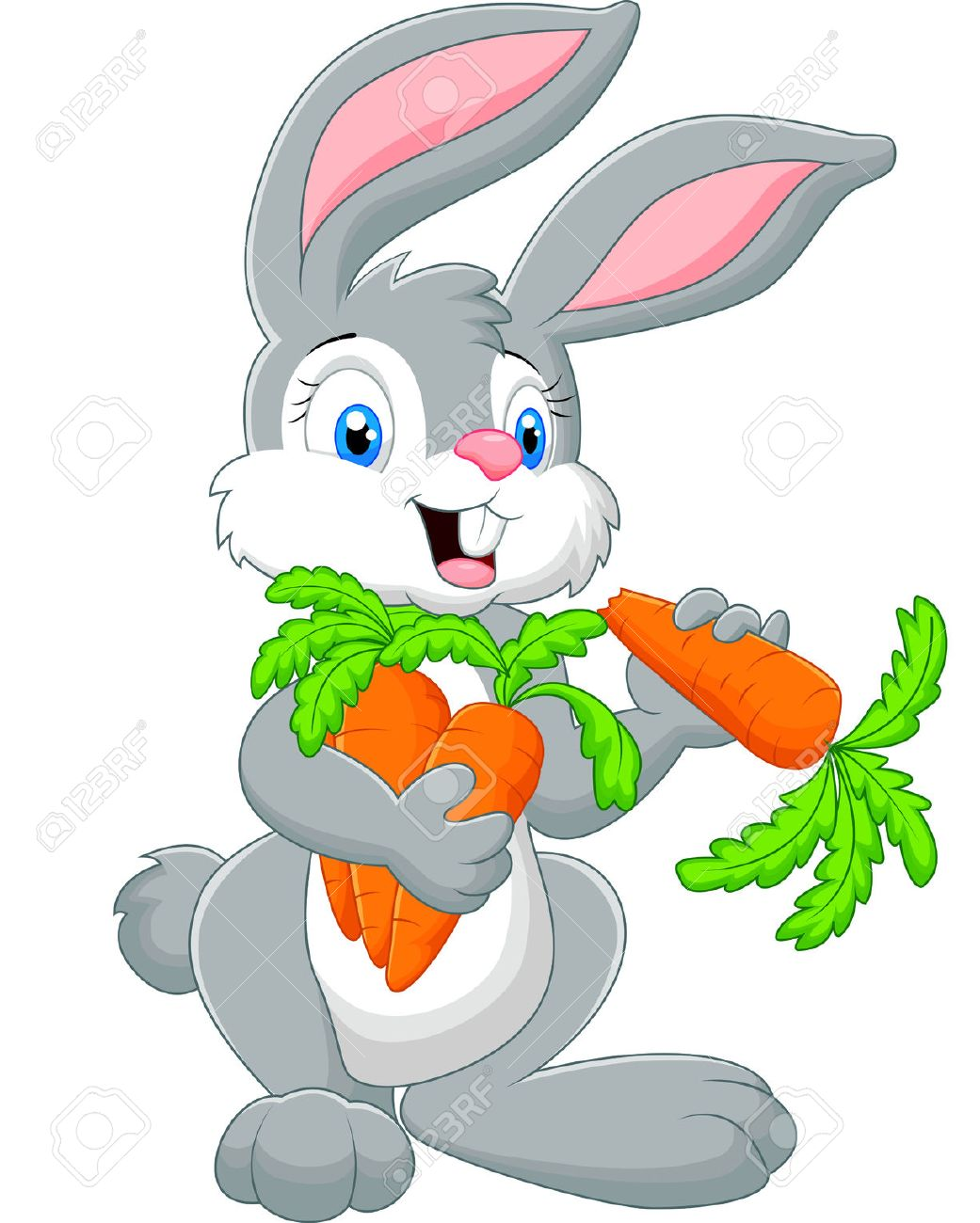 cartoon rabbit holding a carrot stock photo picture and royalty