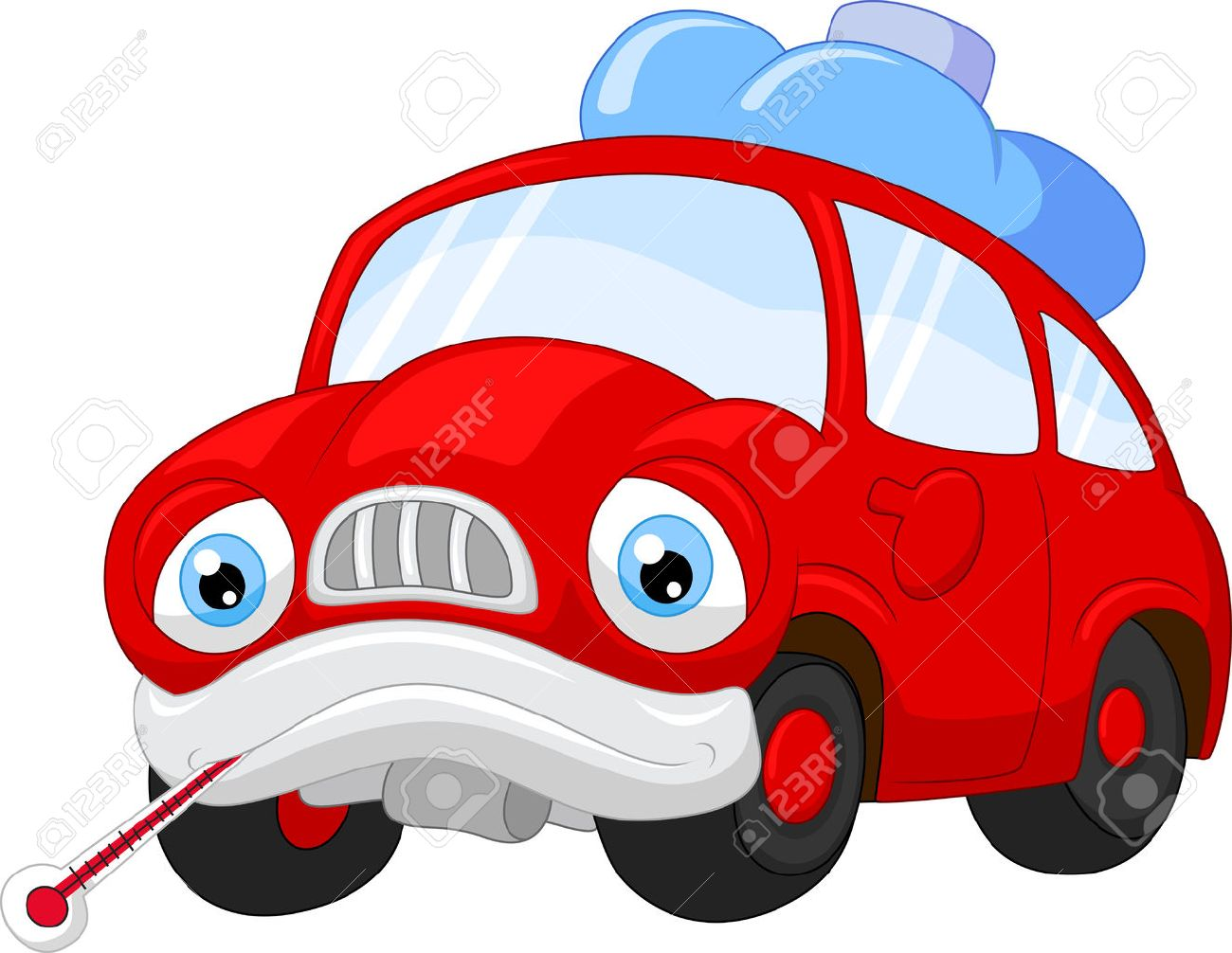 cartoon car character needing repair royalty free cliparts vectors