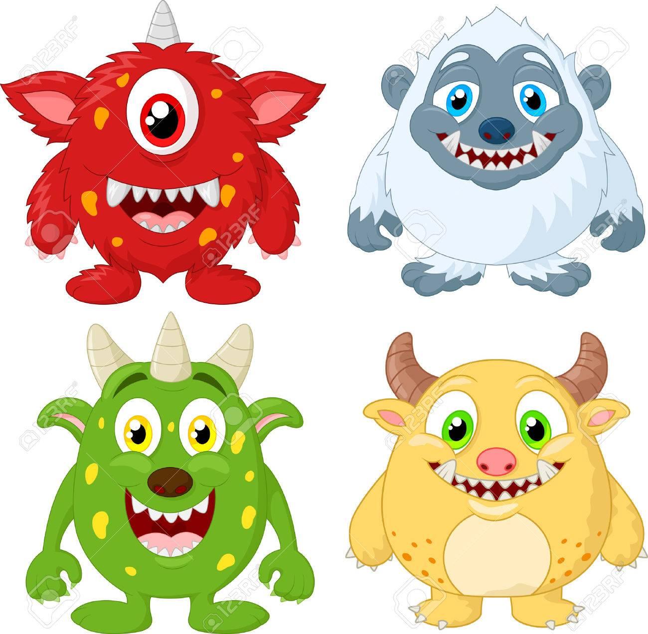 conjunto de recopilación monstruo de dibujos animados ilustraciones