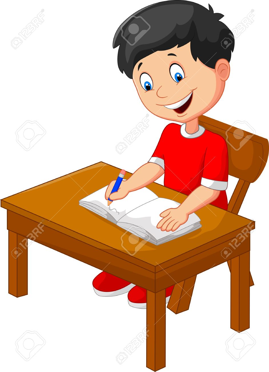 cartoon little boy writing royalty free cliparts, vectors, and stock