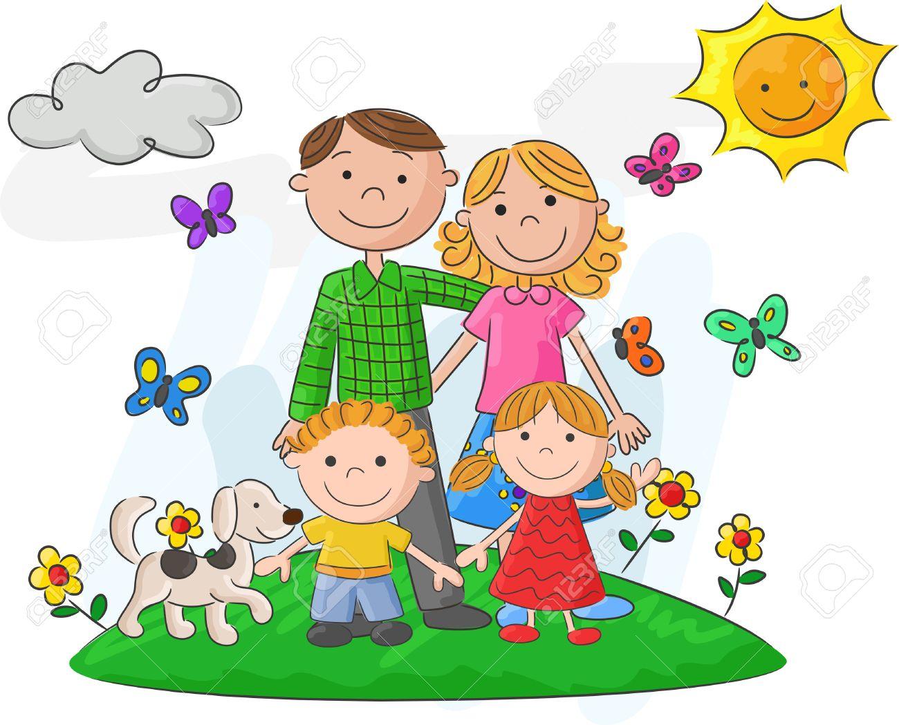 Resultado de imagen para imagenes de familias felices animadas jugando