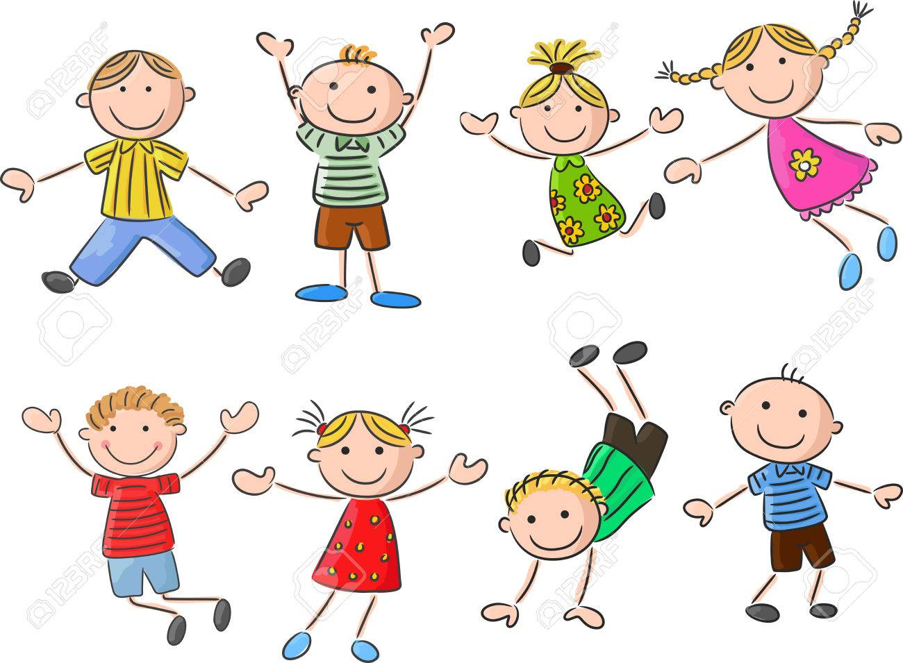 Many Happy Kid Cartoon Jumping And Dancing Together Stock Vector