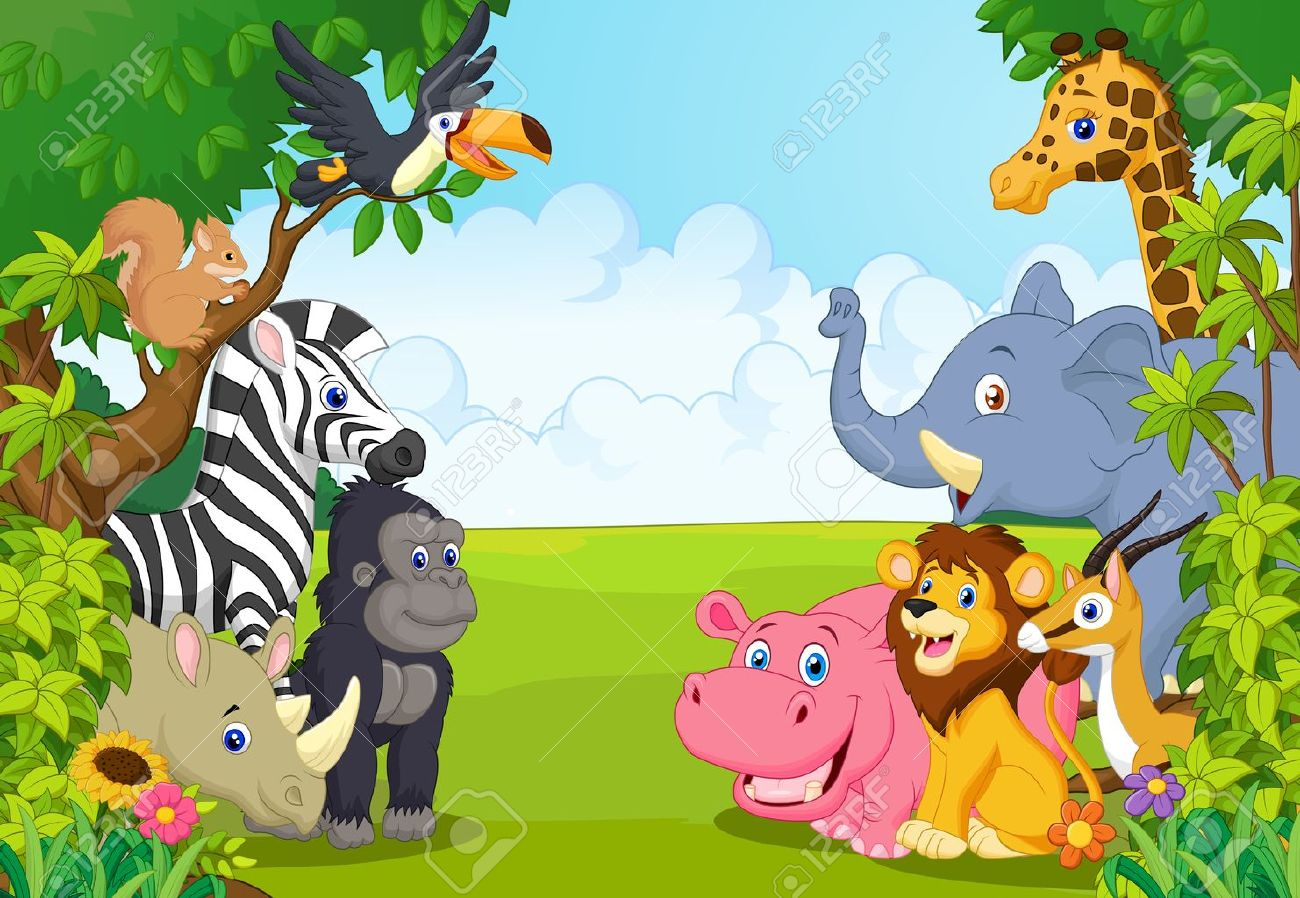 Cartoon collection animal in the jungle - 44254082