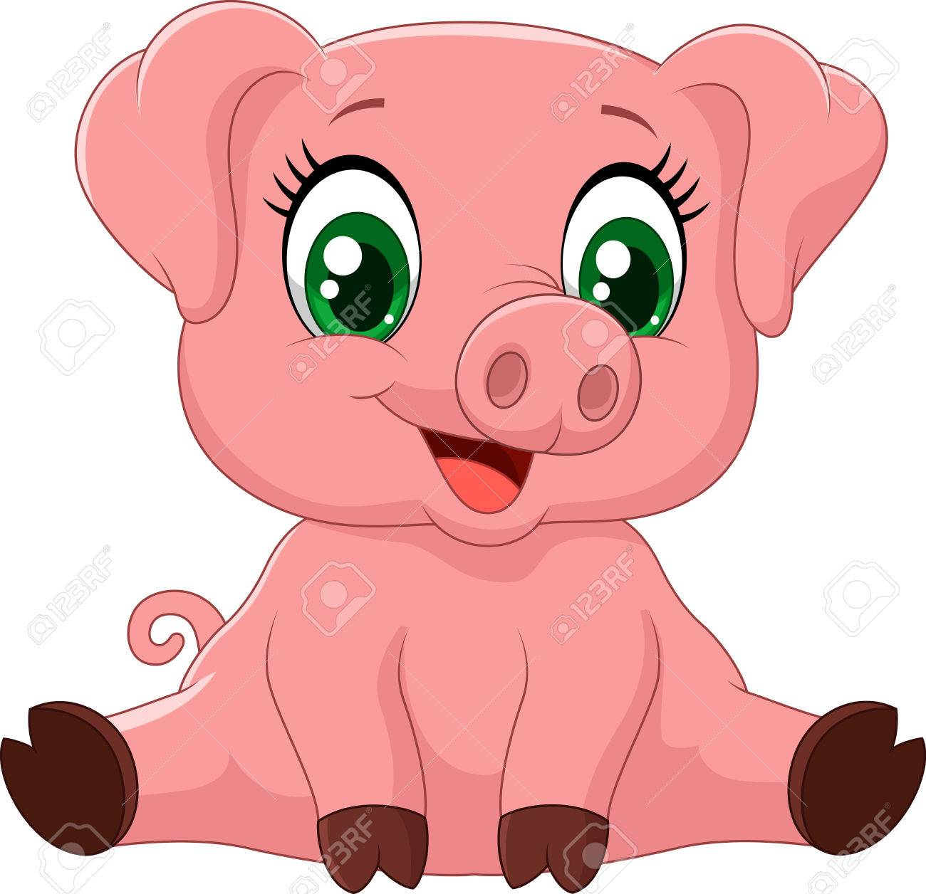 cartoon adorable baby pig vector illustration royalty free cliparts rh 123rf com pig vector free download pig vector art free