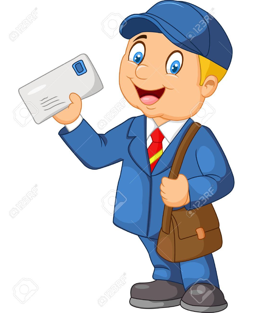 Cartoon Mail Carrier With Bag And Letter On White Background – Mail Carrier Job