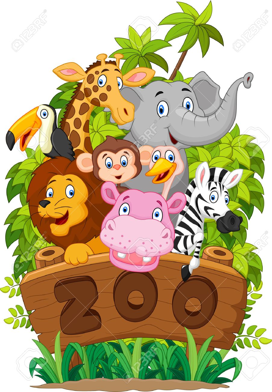 Cartoon collection happy animal of zoo - 45276864
