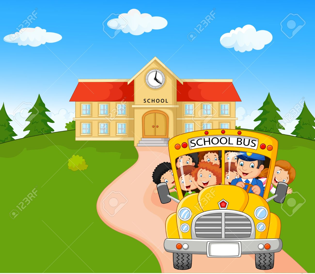 Little Kids Are Going To Home Royalty Free Cliparts, Vectors, And ...