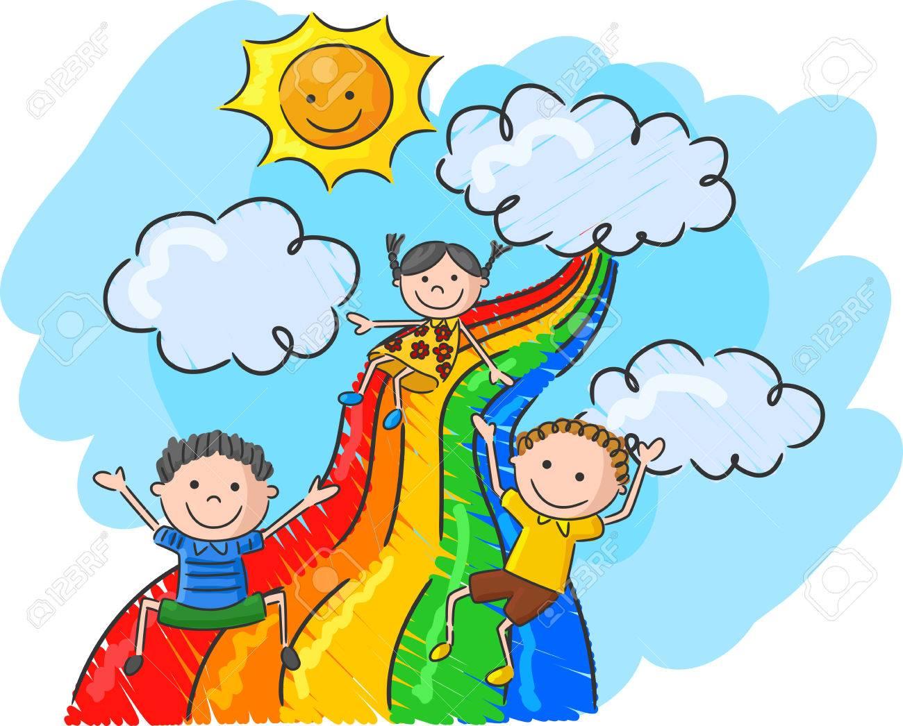 Cartoon little kids playing slide rainbow - 45091423