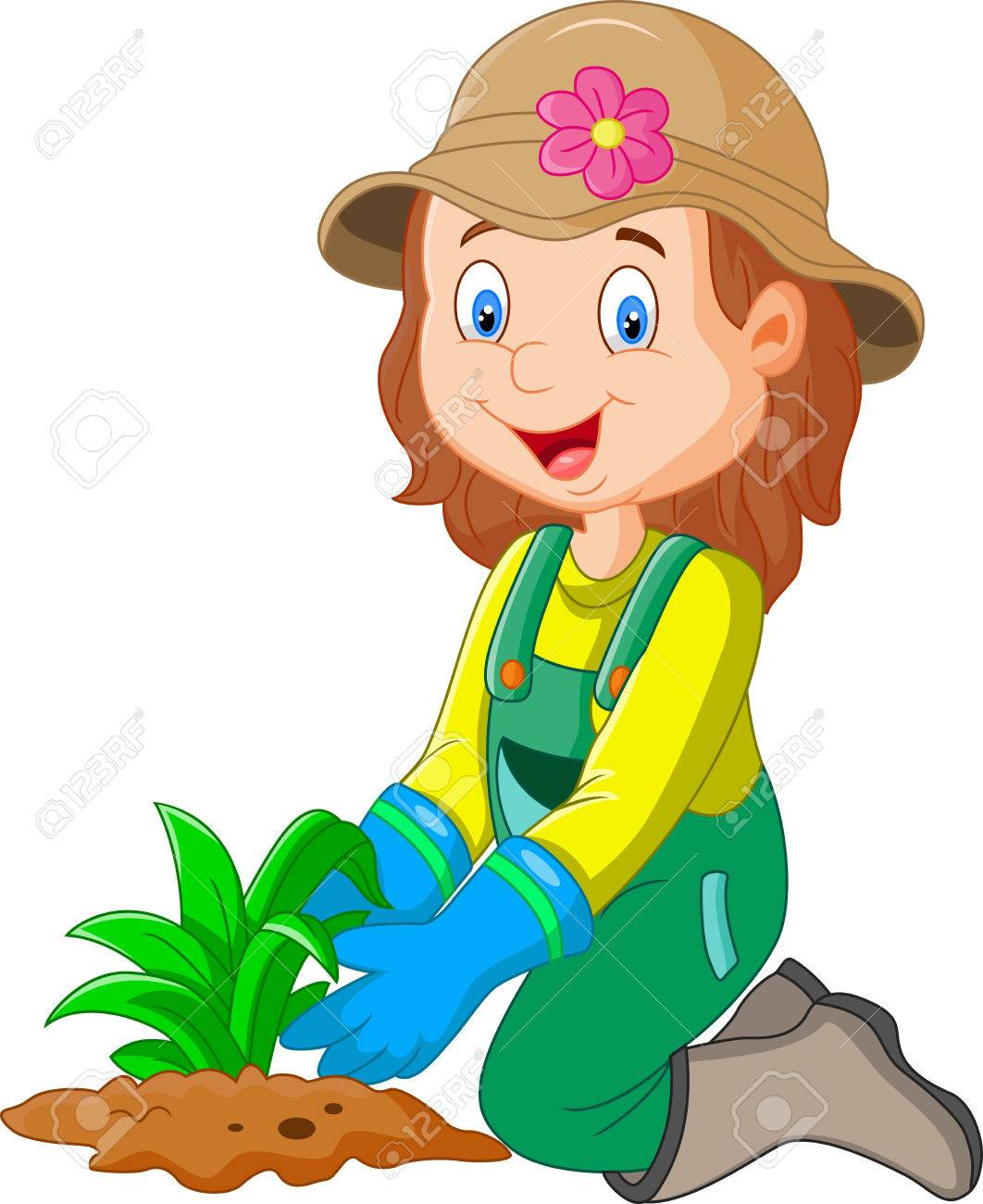 Cartoon Illustration She Was Plants In The Garden Royalty Free Cliparts Vectors And Stock Illustration Image 45091428