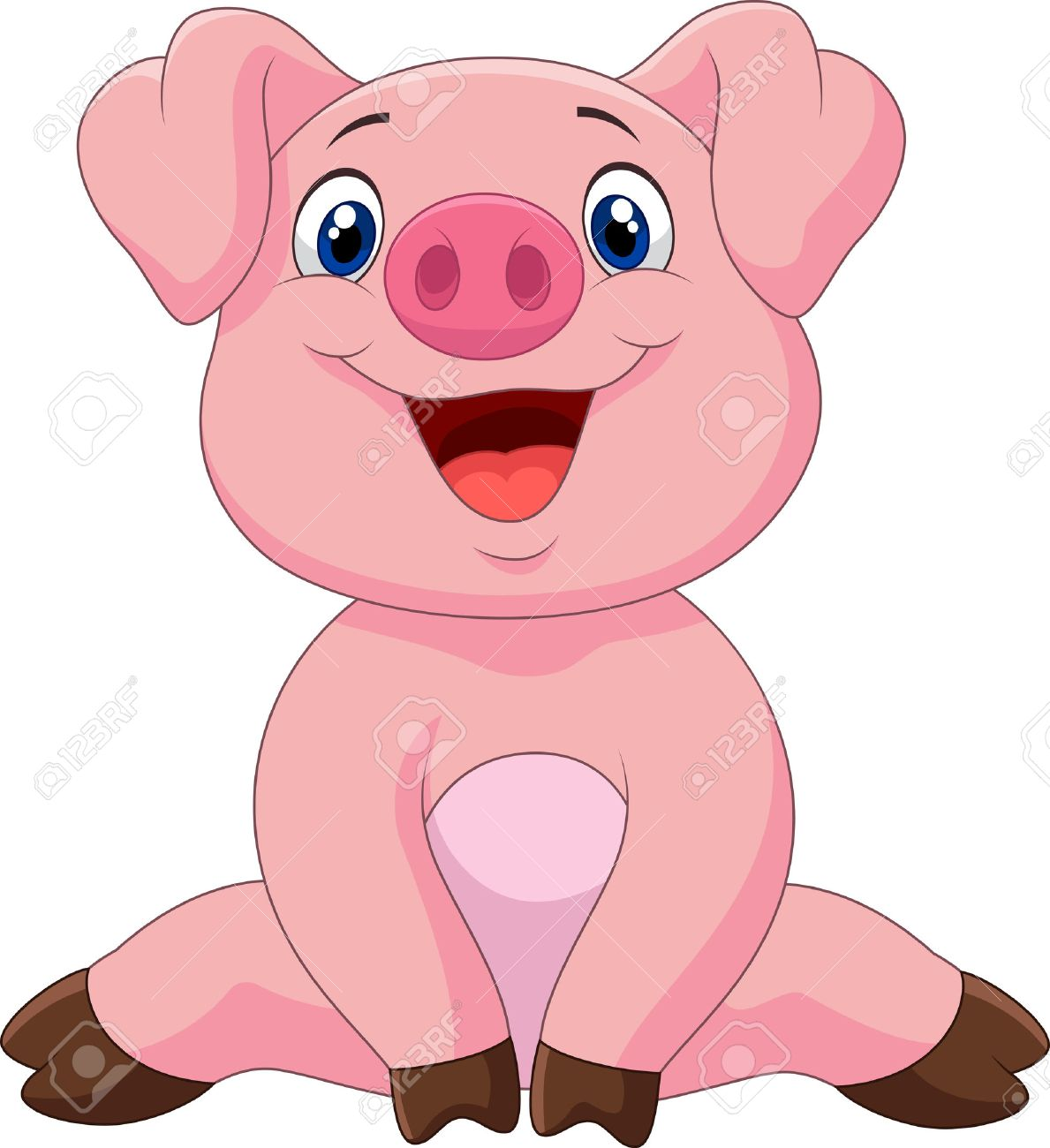 Dessin Animé Adorable Bébé Cochon Illustration Vectorielle