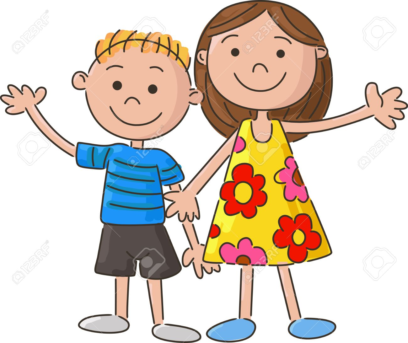 cartoon little kids holding hand royalty free cliparts vectors and rh 123rf com Best Friends Holding Hands Cartoon Best Friends Holding Hands Cartoon