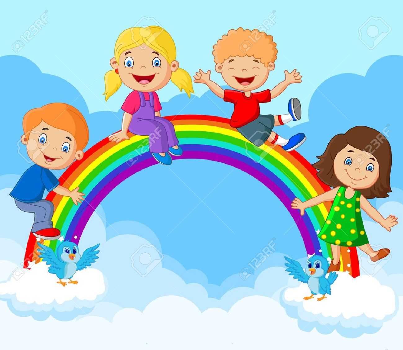 cartoon happy kids sitting on rainbow royalty free cliparts