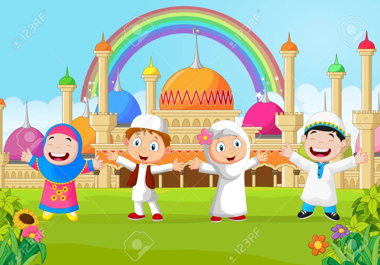 cartoon happy kid muslim with rainbow royalty free cliparts