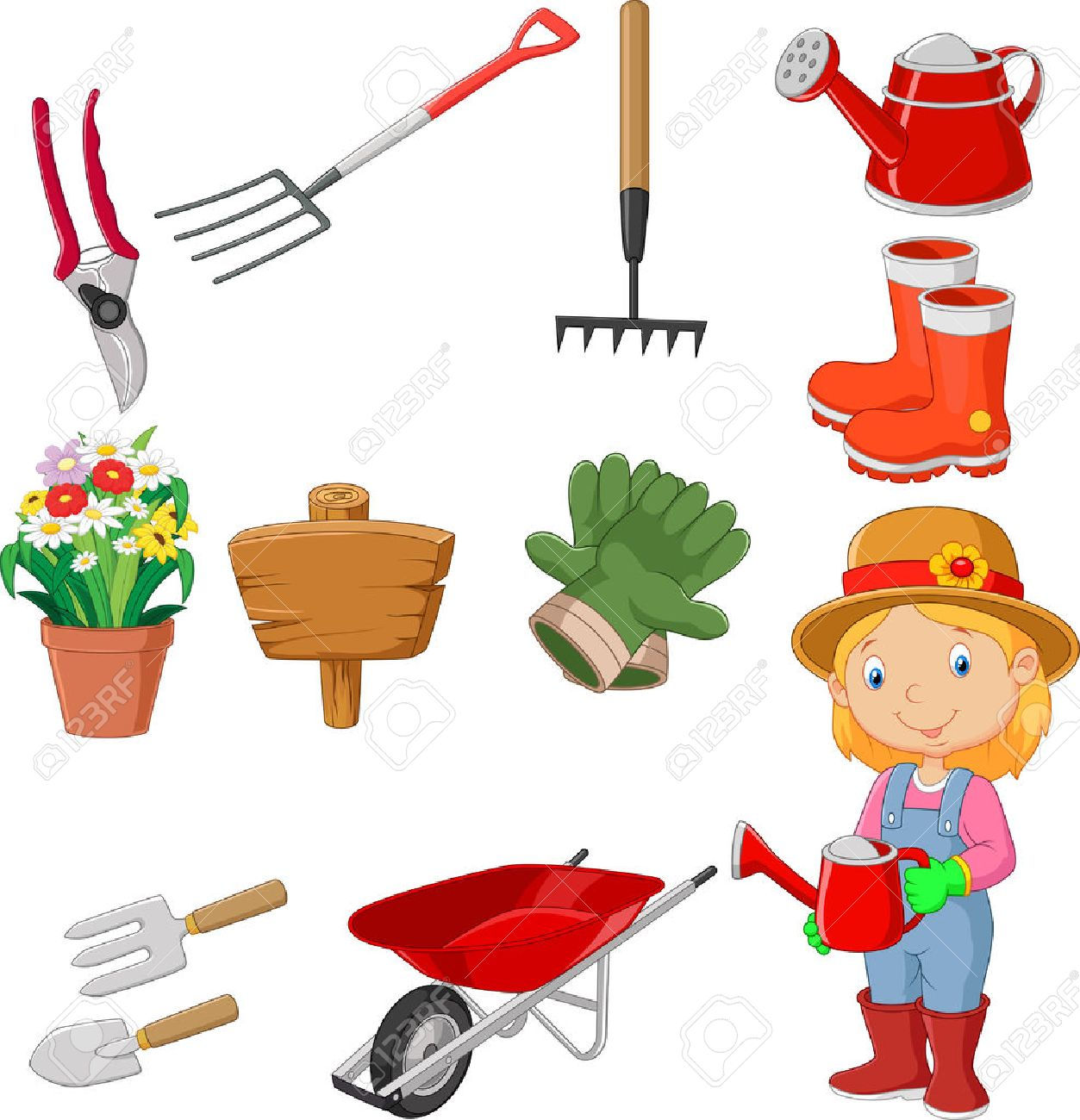 Cartoon Gardening Tools Collection Set Royalty Free Cliparts