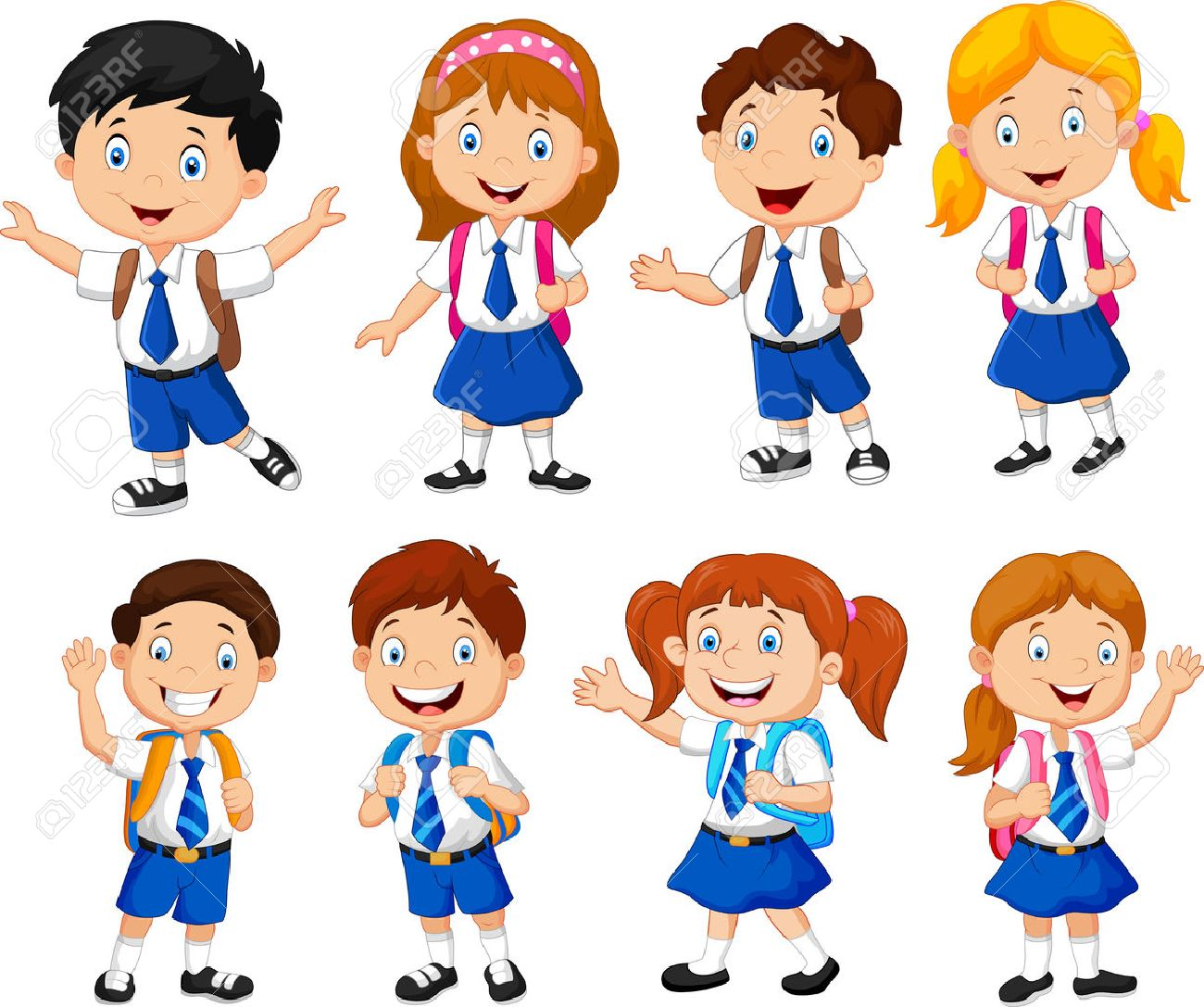 illustration of school children cartoon royalty free cliparts