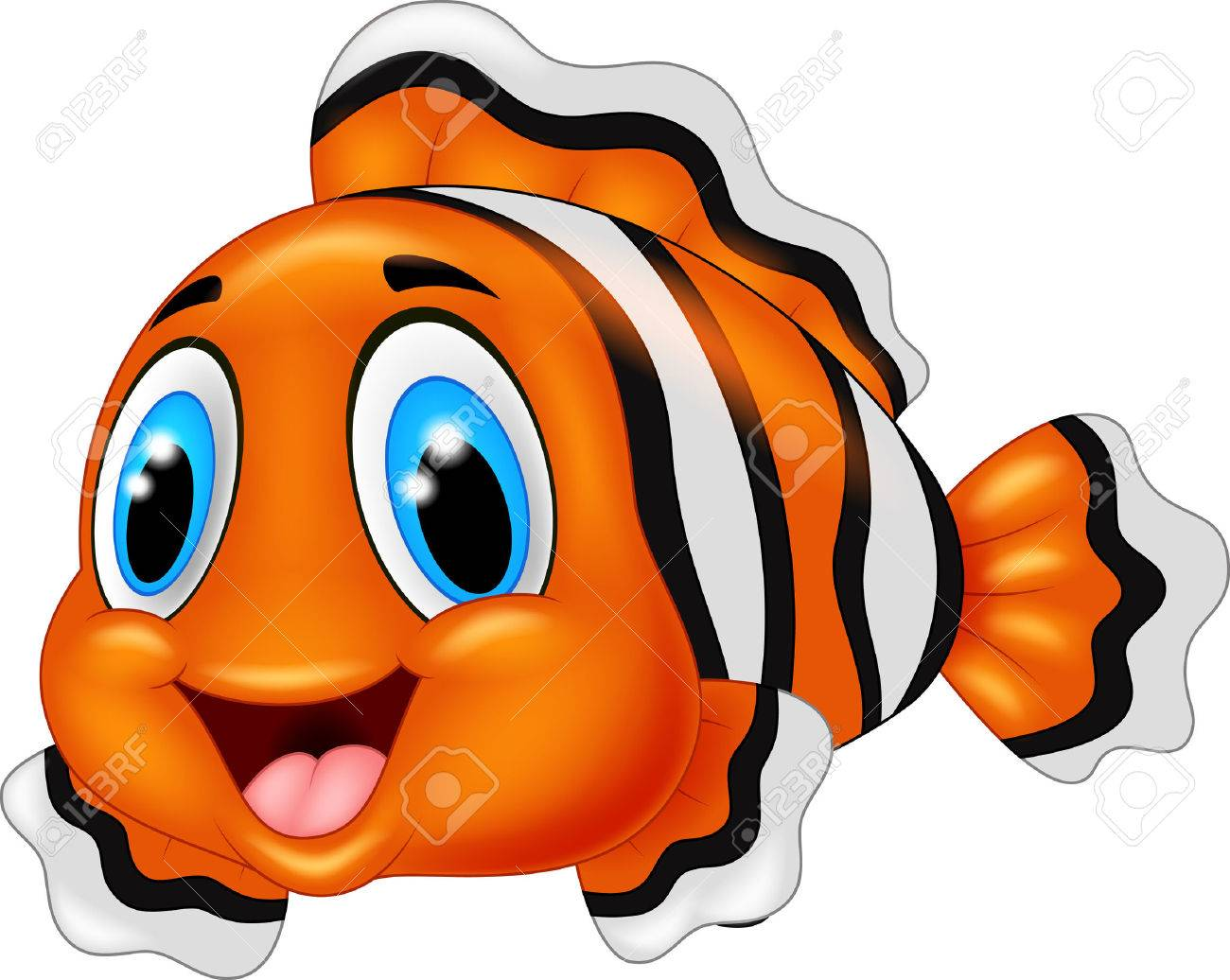 Cute clown fish cartoon posing - 45092713