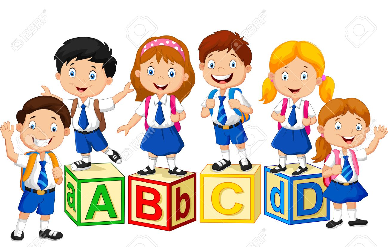 happy school kids with alphabet blocks stock vector 45092984 - School Pictures For Kids