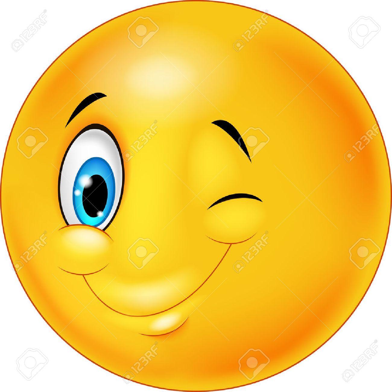 clin d oeil Smiley heureux dessin animé émotic´ne avec clignotement des yeux