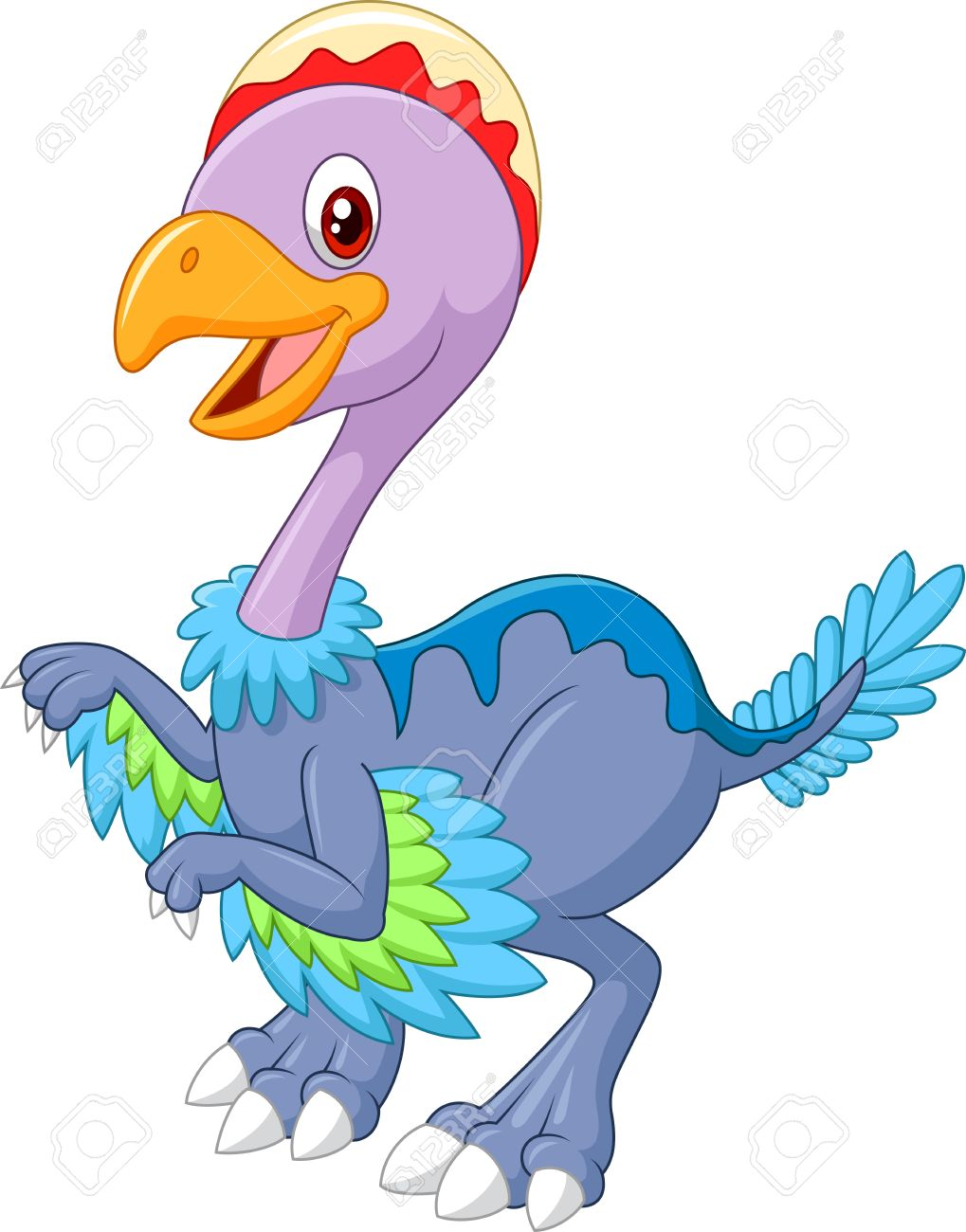 Cartoon happy dinosaur archaeopteryx, isolated on white background - 45169056