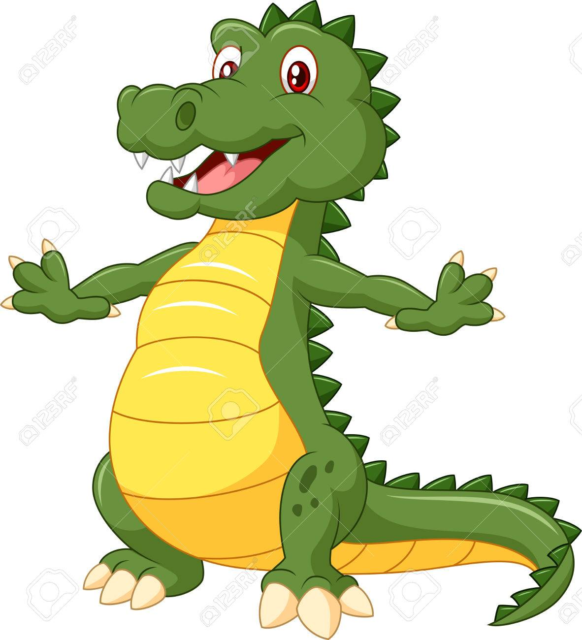Cartoon Crocodile Standing With A Happy Face Vector Illustration