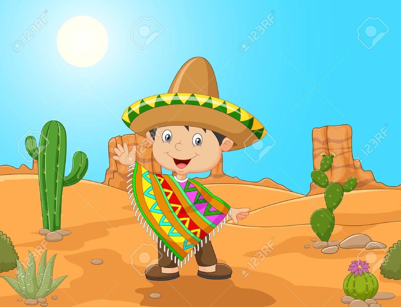 ilustración de dibujos animados mano niño mexicano que agita Foto de archivo - 45971285