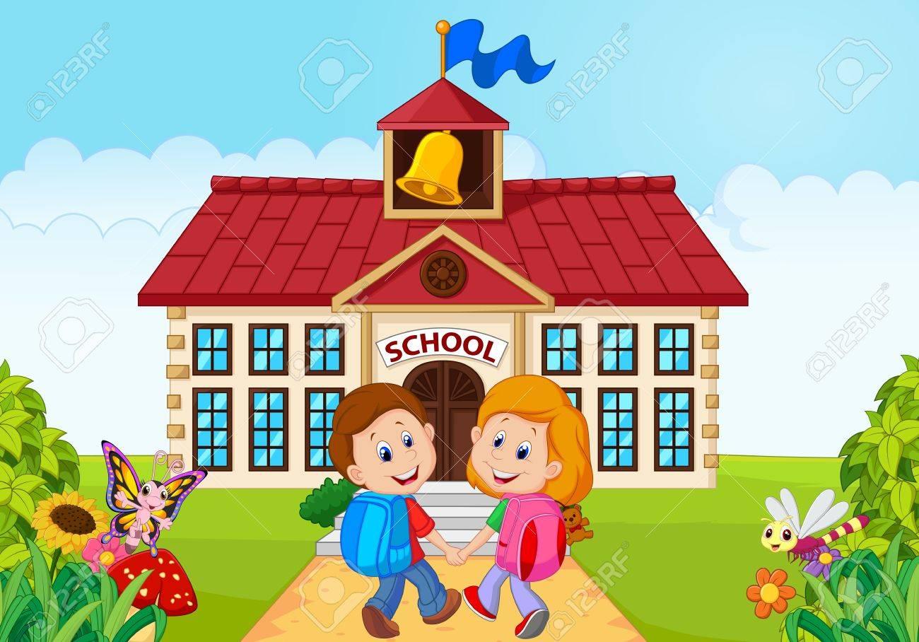 学校に行く幸せな小さな子供たちのイラスト ロイヤリティフリークリップ