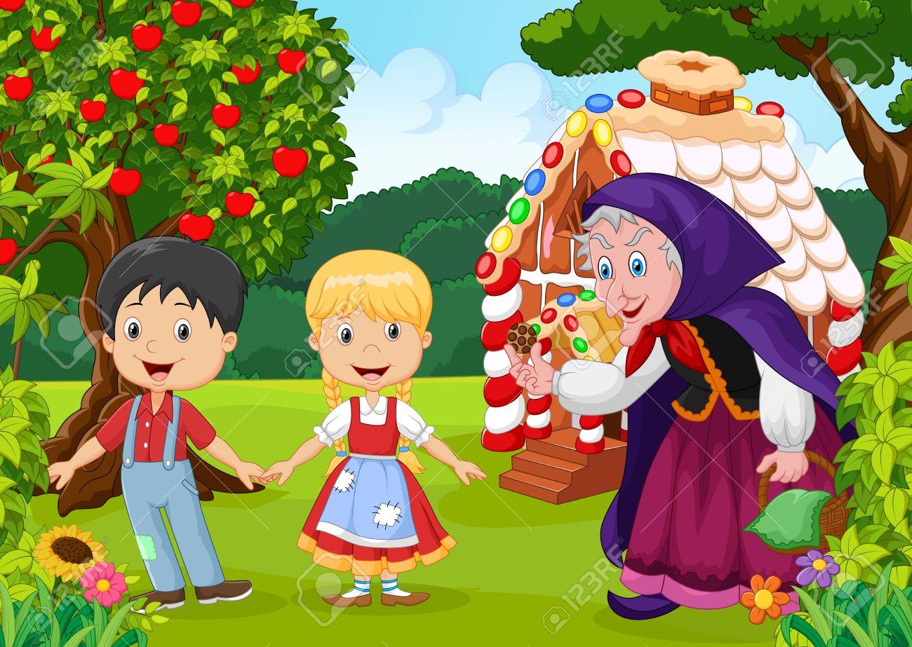 Illustration Des Klassischen Kinder Geschichte Hänsel Und Gretel ...