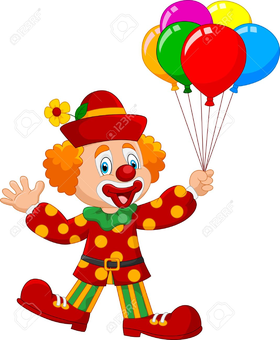 Image Clown illustration of adorable clown holding colorful balloon isolated