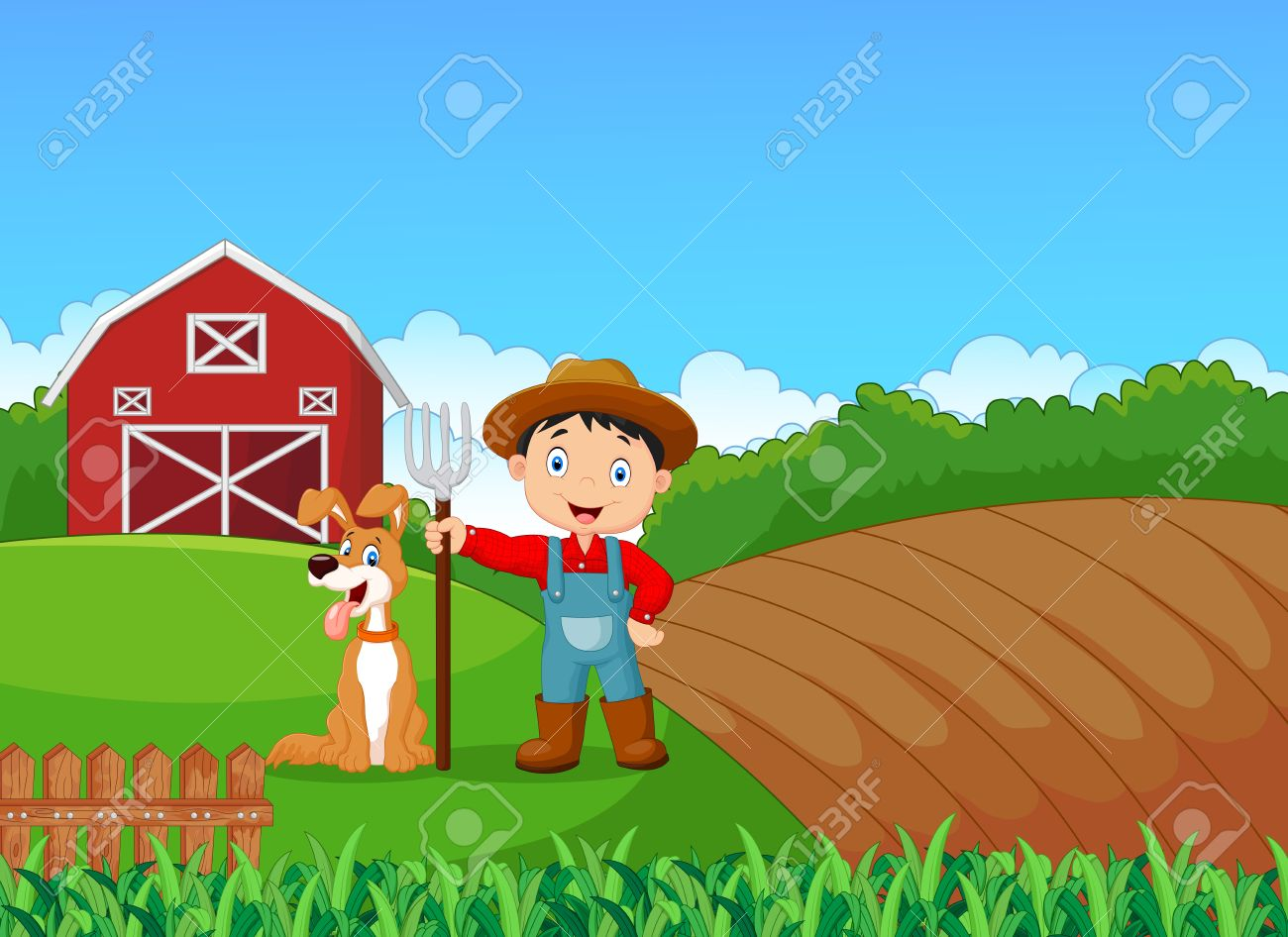 Illustration Of Cartoon Little Farmer And His Dog With Farm ... for Animated Farm Field  45jwn