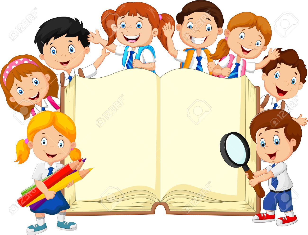illustration of cartoon school children with book isolated royalty