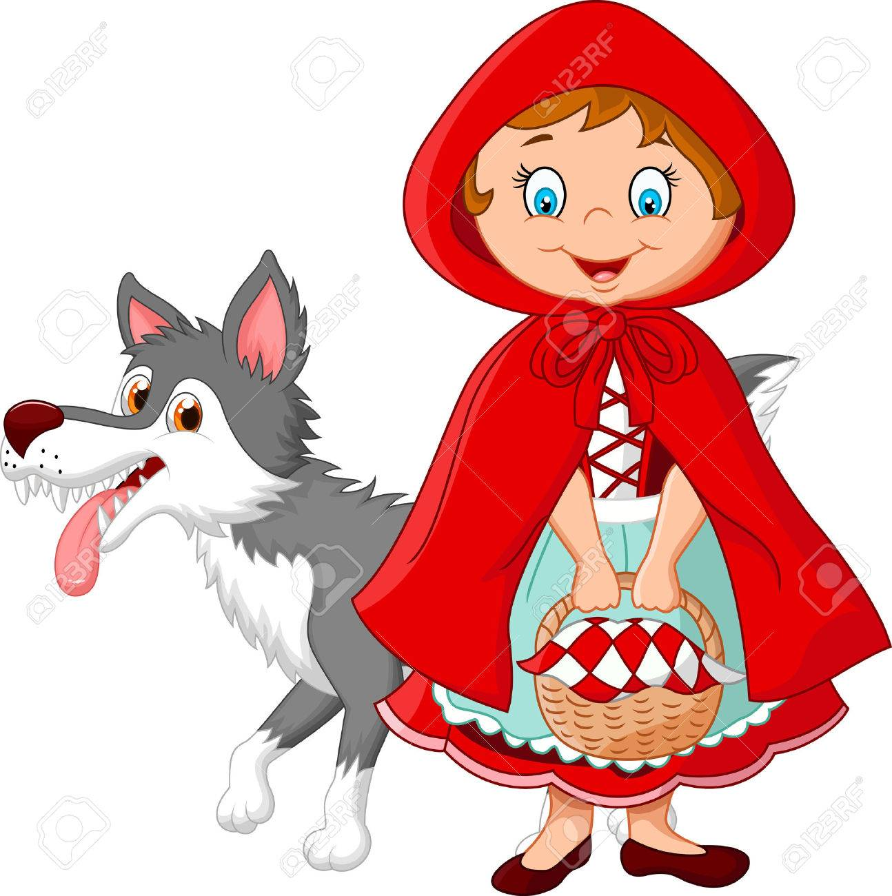 illustration of little red riding hood meeting with a wolf royalty rh 123rf com little red riding hood story clipart little red riding hood wolf clipart