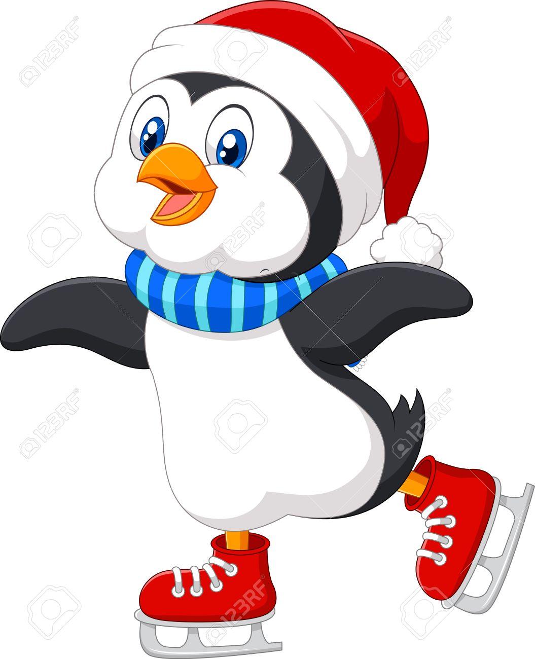 vector illustration of cute cartoon penguin doing ice skating rh 123rf com