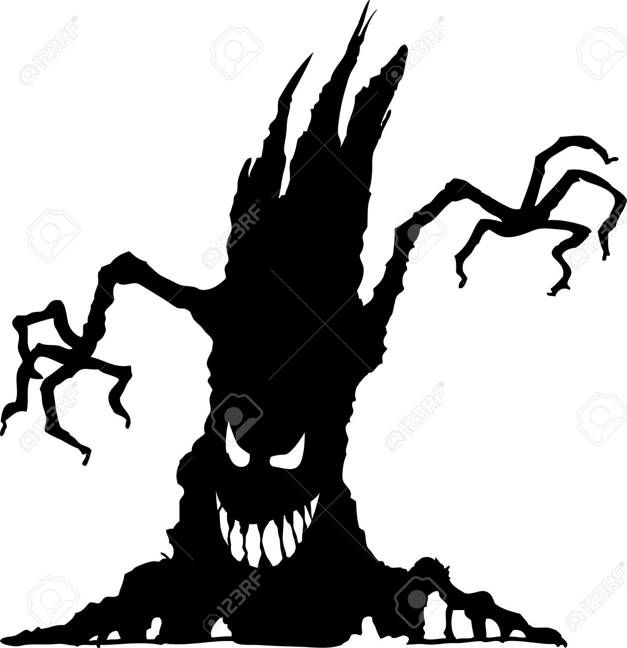 vector vector illustration of halloween tree silhouetteisolated on white background