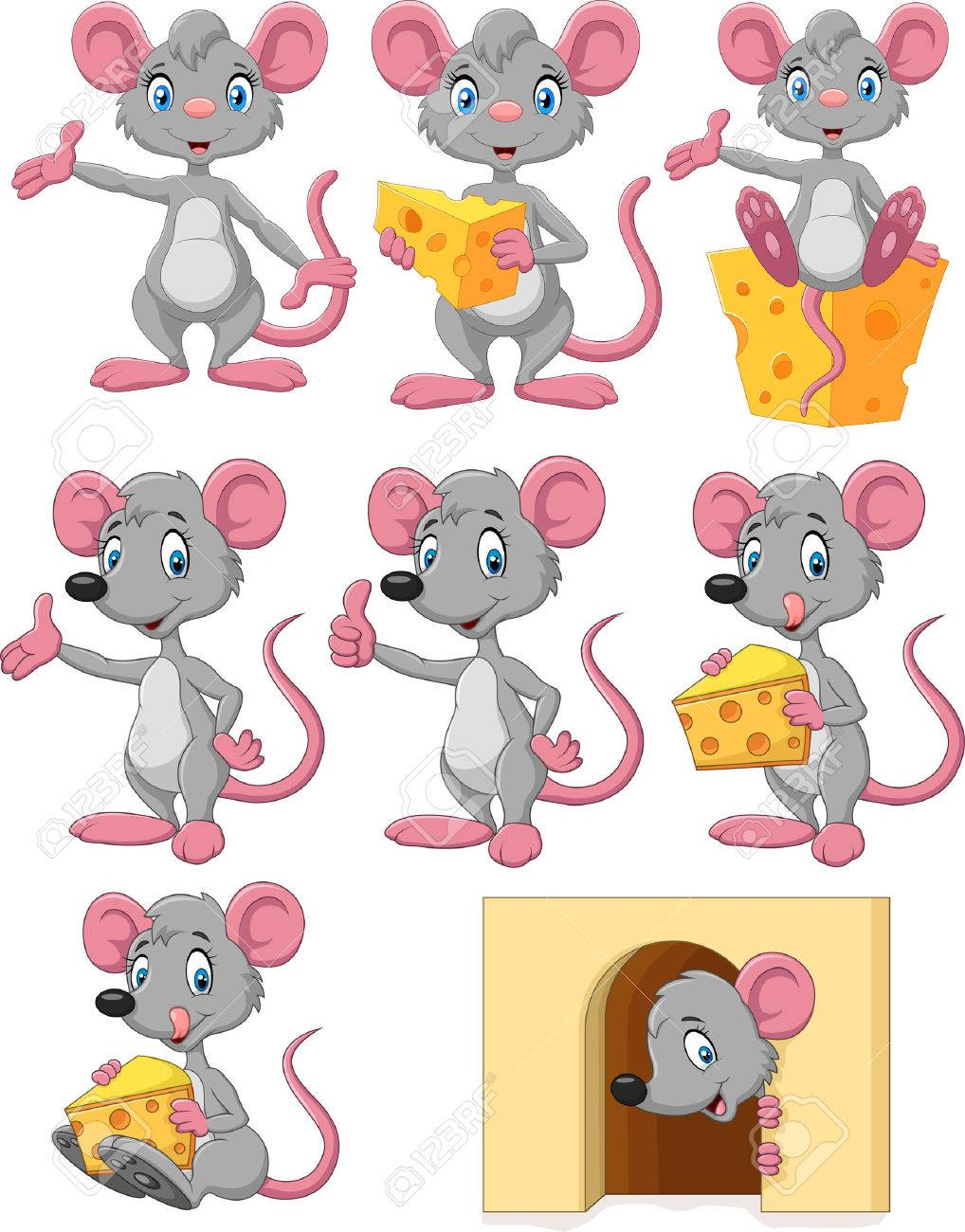 vector illustration of cartoon funny mouse collection set on