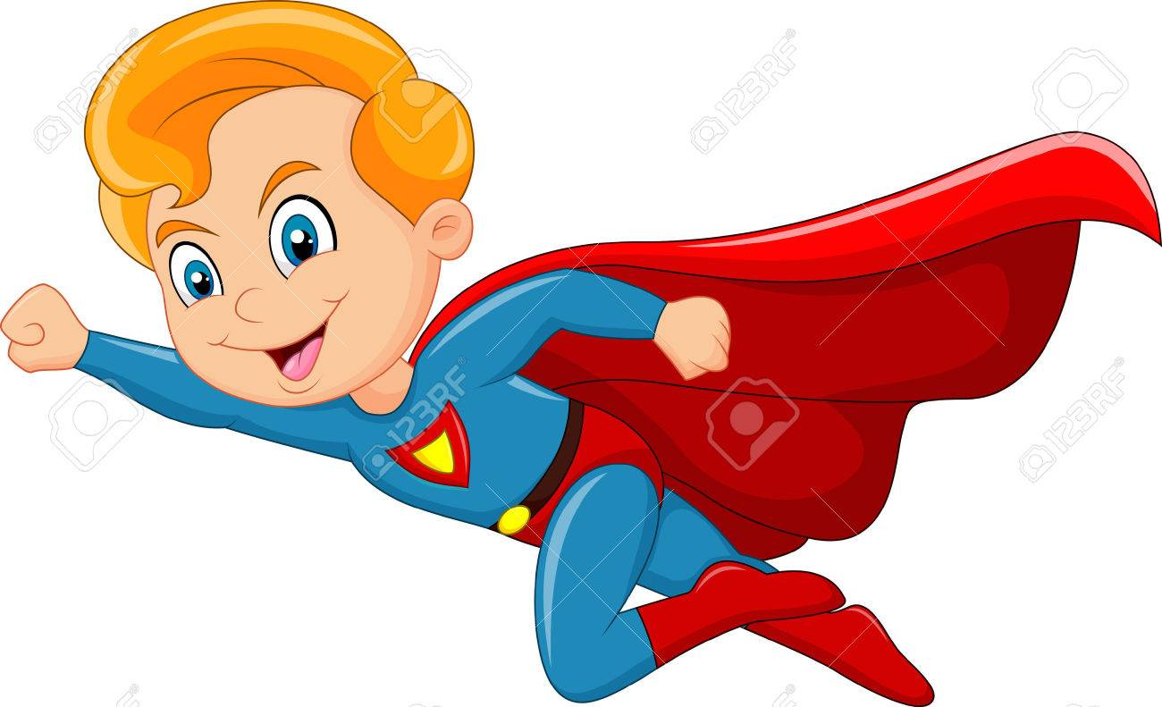 Vector illustration of Cartoon superhero boy isolated on white background - 47614321