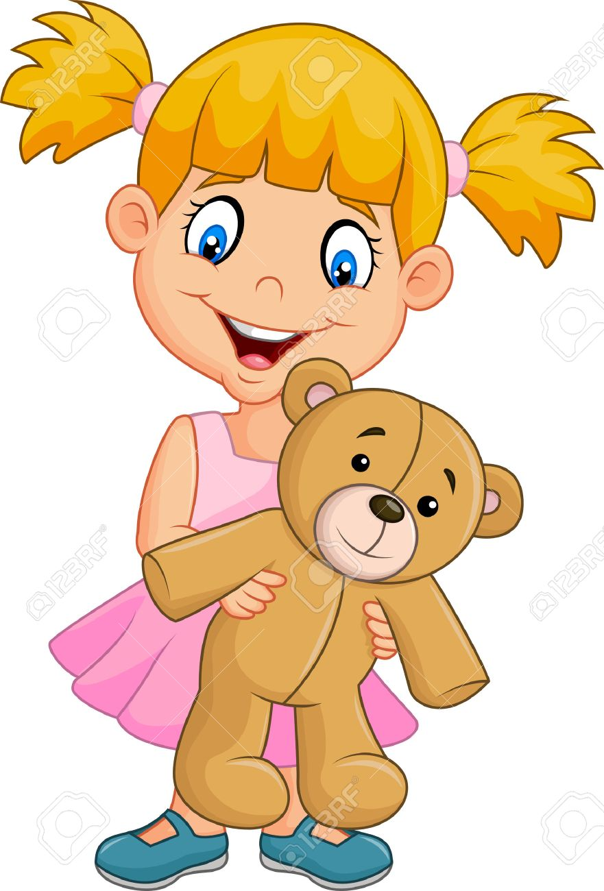 Vector Illustration Of Cartoon Little Girl Playing With Teddy