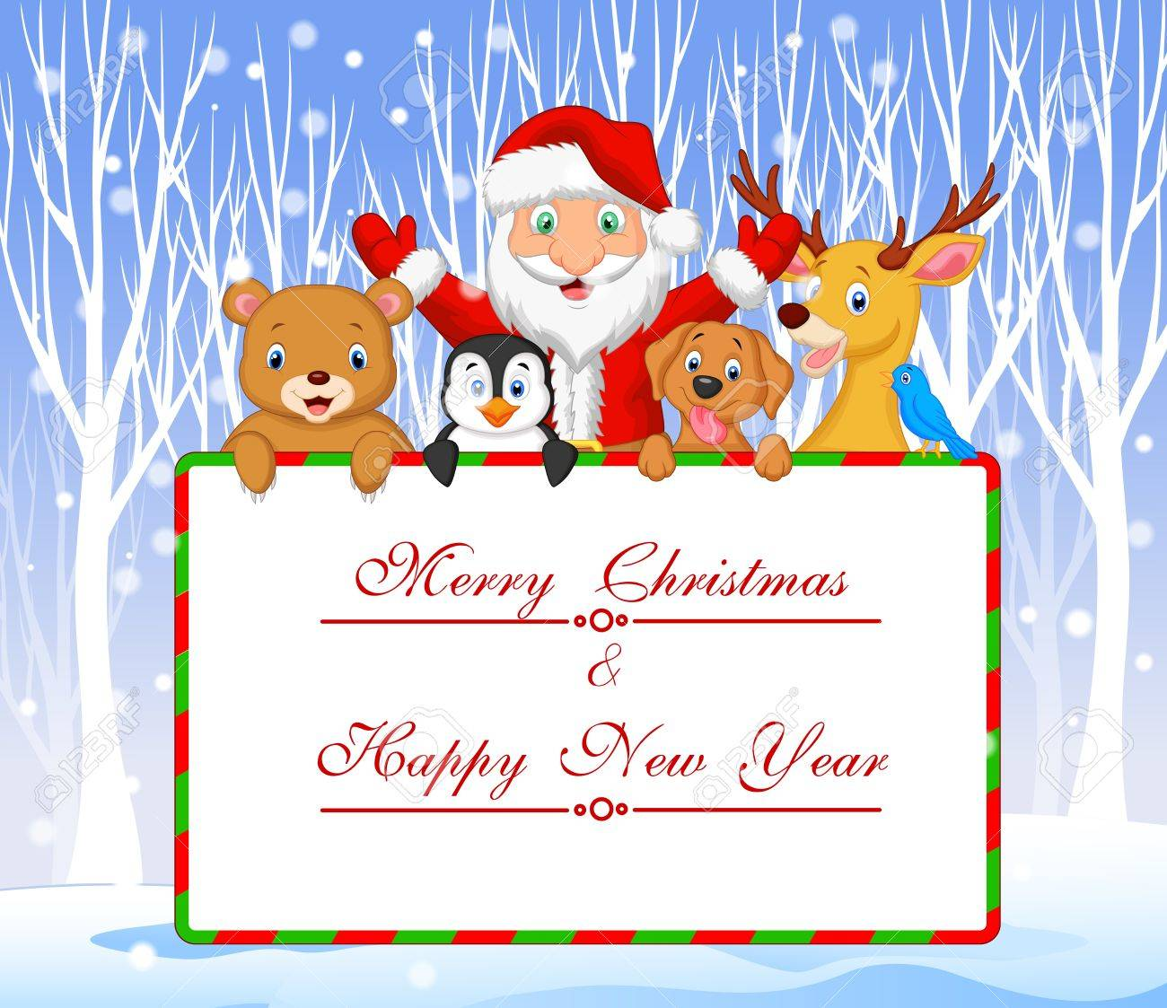 Vector Illustration Of Cartoon Santa And Friend Holding Christmas