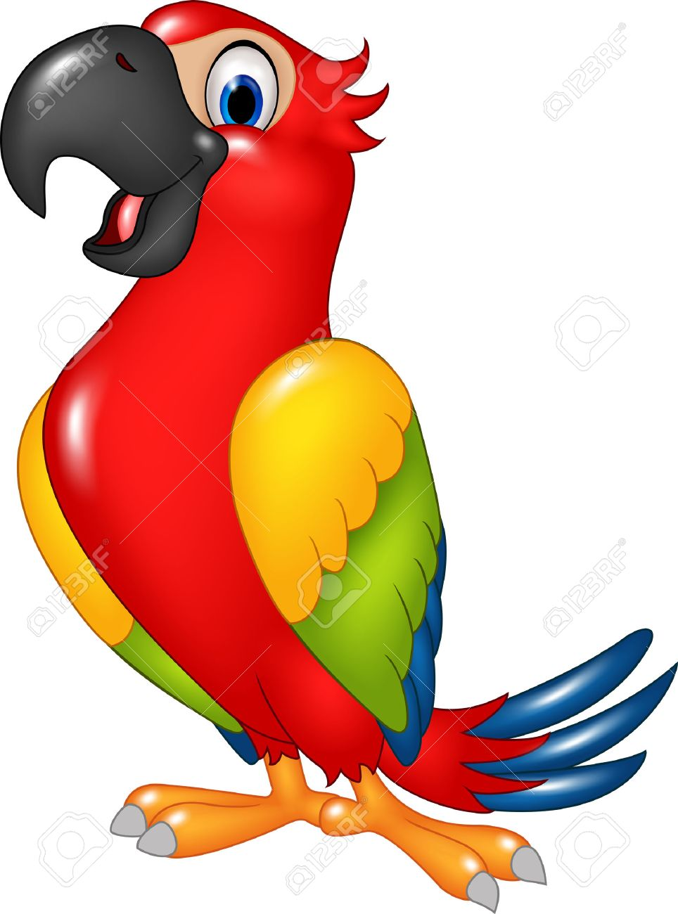 Vector illustration of Cartoon funny parrot isolated on white background - 47618566