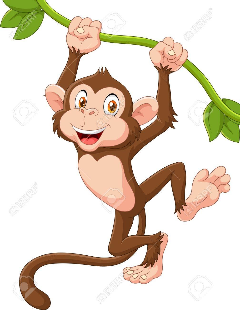 ツルにぶら下がっているかわいい猿の動物のベクトル イラストのイラスト