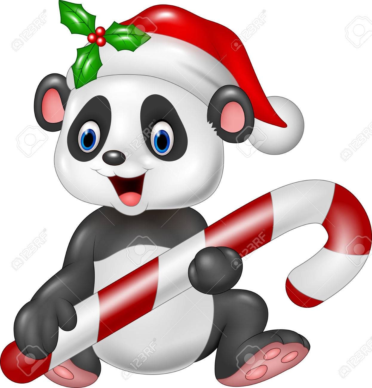 Vector Illustration Of Cute Baby Panda Holding Christmas Candy ...