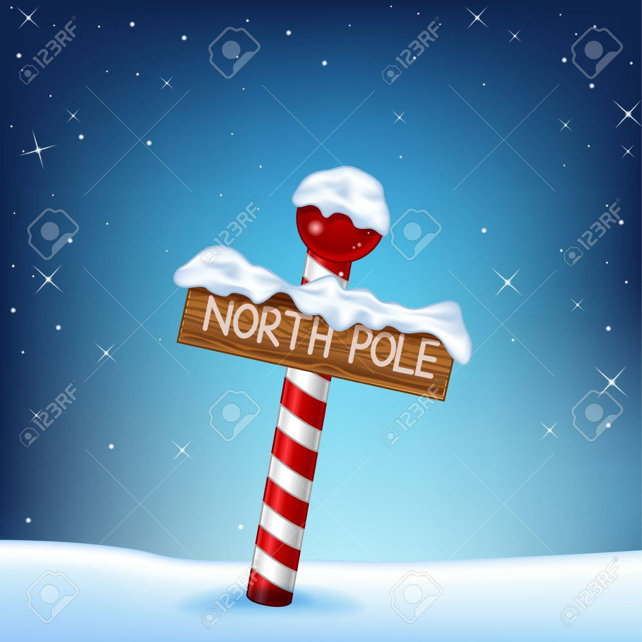 Vector Illustration Of A Christmas Illustration Of A North Pole ...