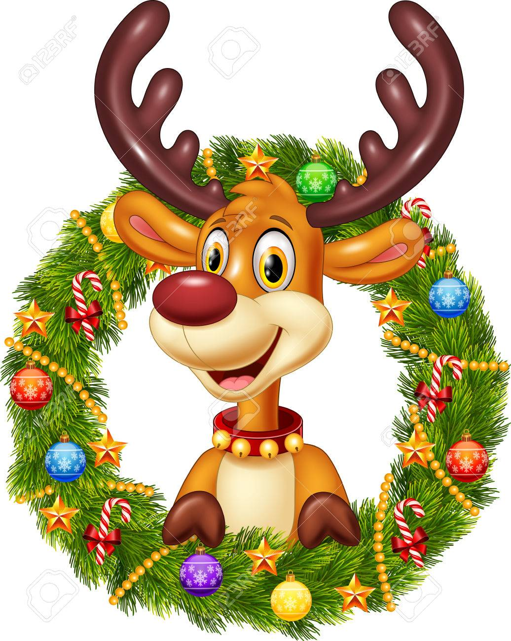 Vector Illustration Of Cartoon Funny Deer Holding Christmas Wreath