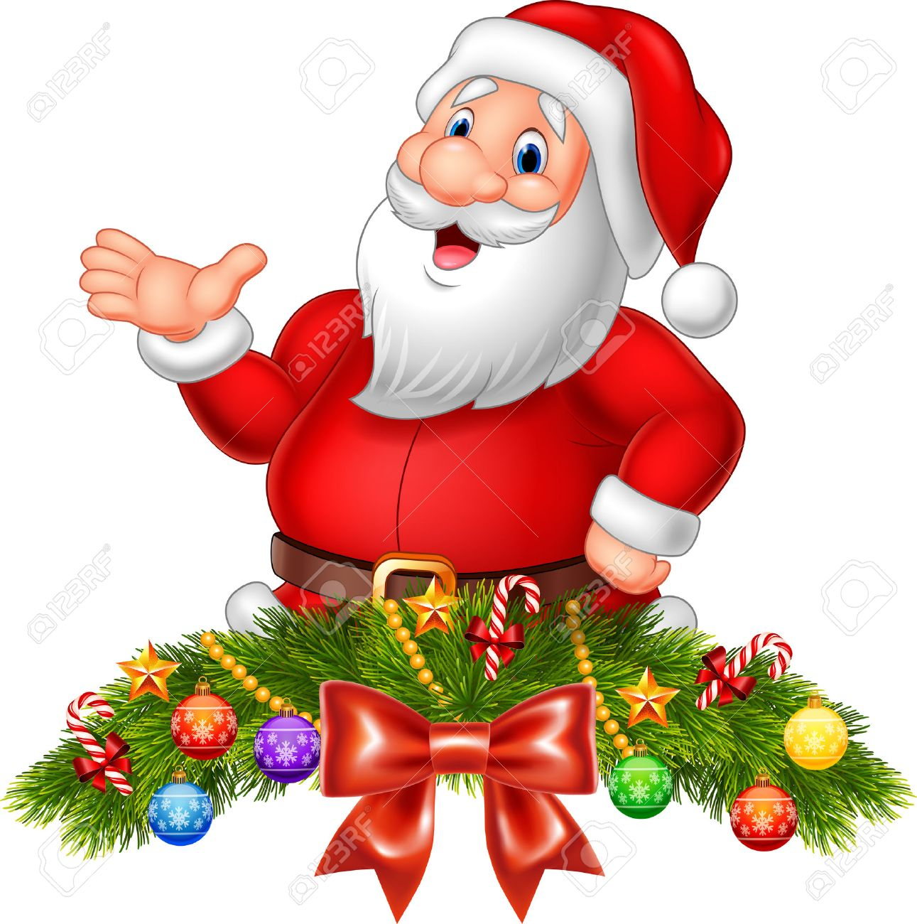 vector vector illustration of cartoon funny santa claus waving hand with christmas decoration