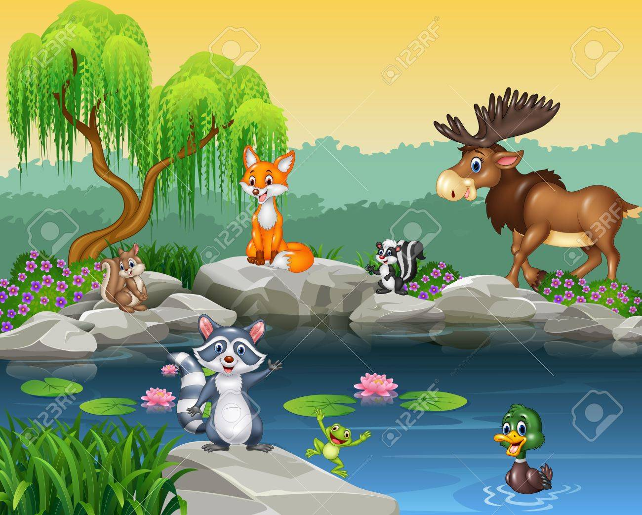 Vector illustration of Cartoon funny animal collection on the beautiful nature background Stock Vector - 52421812