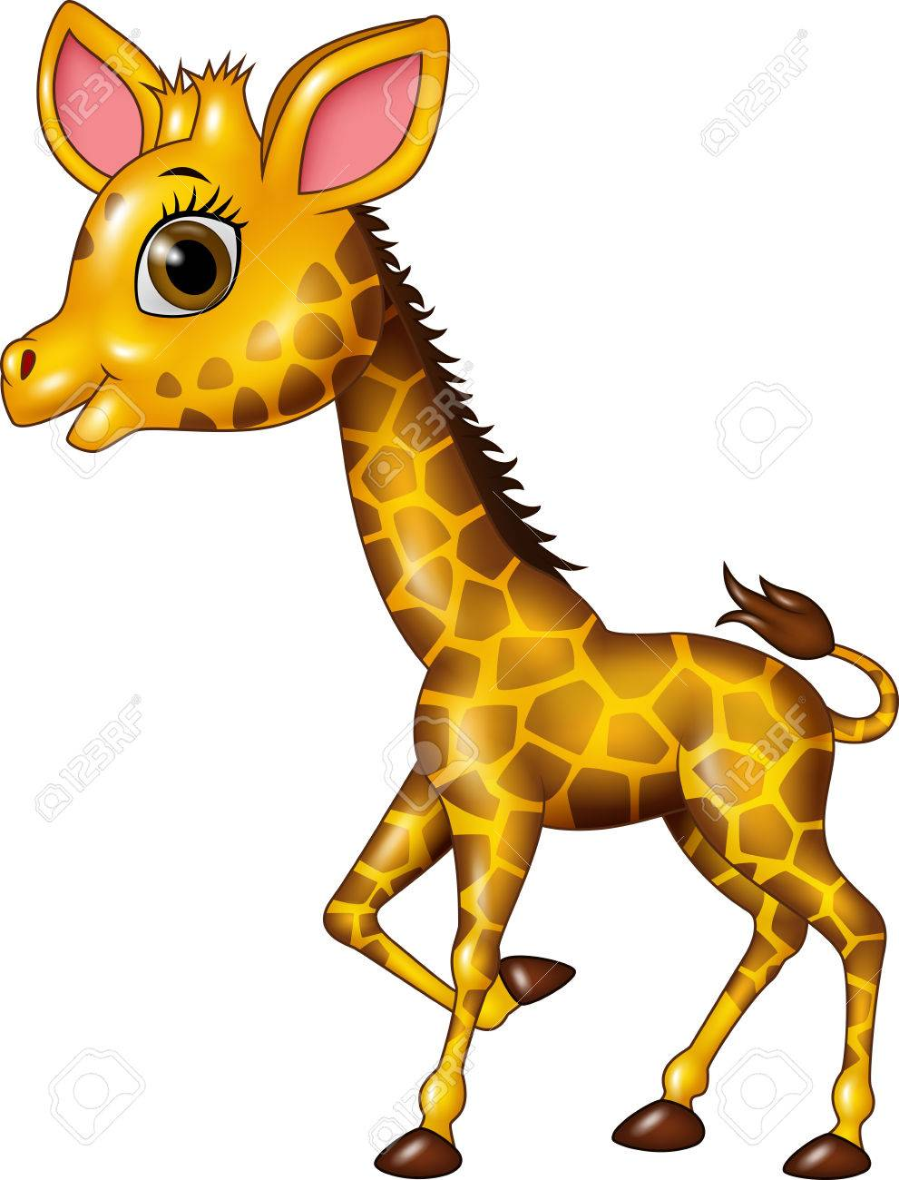 Vector illustration of Cartoon funny baby giraffe isolated on white background - 53334627