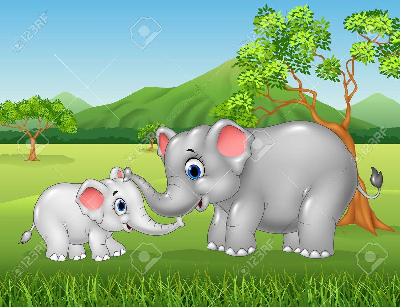 Vector illustration of Cartoon elephant mother and calf bonding relationship in the jungle - 53334764