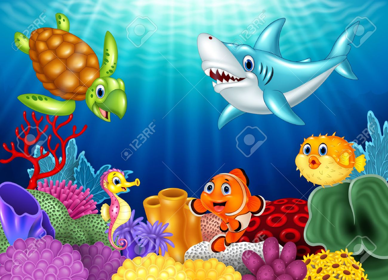Vector illustration of Cartoon tropical fish and beautiful underwater world with corals - 54568310